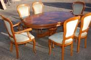 Стол инкрустированный,  2 кресла,  4 стула