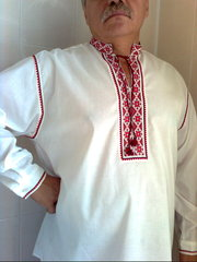 Новая мужская вышиванка с дл.рукавом.Белая.Хлопок 100%. 41-42см