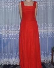 Красное платье длинное ткань атлас с накидкой