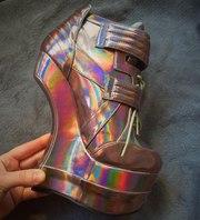 Holographic shoes,  голографические ботинки радуга