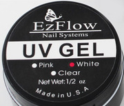 EzFlow УФ-гель,  UV-gel,  для наращивания ногтей,  белый,  15 мл баночка